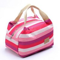 Wholesale 500pcs LJJC3156 High Quality Fashion Stripe Travel Lunch Bag Picnic Contain Cooler Insulated Thermal Waterproof Organizer Dinnerware Handbag