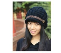Wholesale New Fashion Headwear Women Warm Rageared Baggy Winter Beanie Chunky Knit Crochet Ski Hat Cap colors Women Winter Hat