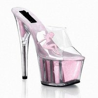 stripper shoes - Interdiffused Pink Crystal Slippers High Heeled Shoes Fashion Women s Shoes Beauty Decorative Crystal Stripper Shoes