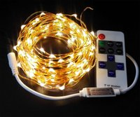 Wholesale 10m ft RF remote control dimmable LED copper wire string lights starry night lighting for holiday Christmasremote control