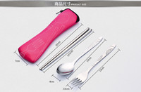 Wholesale High Quality Eco friendly Outdoor Portable Lunch Stainless Steel Chopsticks Spoon Fork Tableware Travel Cutlery Sets Bag pillow package