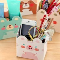 Wholesale Drawer Organizers Desk Desktop Storage Box South Korean stationery cute animal mini pen storage box desktop storage box