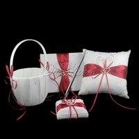 Wholesale set Red Satin Ring Pillow Flower Basket Guest Book Pen Set Wedding Decoration Bridal Wholesales