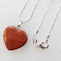 beautiful sand - Beautiful Gold Sand Stone Heart Pendant Woman Diy Necklace inch Send Randomly