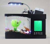 Wholesale Mini USB LCD Desktop Black Fish Tank Aquarium Clock Timer Calendar LED Light Mini USB LCD Desktop Timer Calendar Clock LED Lamp Light