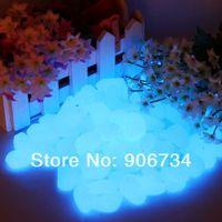 Wholesale 2 Pebbles Stones Fantastic For Garden or Yard Walkway Blue Glow in the Dark order lt no track