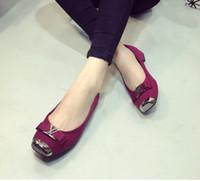 Wholesale 3 colour eu Luxury Brand shoes Genuine Leather fashion Metal buckle square head bow flat shoes woman comfort shoes