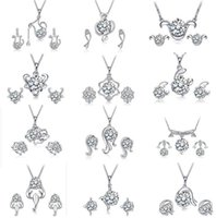Wholesale Top Grade Silver Jewelry Sets New Fashion Hot Sale Crystal Earrings Pendants Necklaces Set for Women Girl Gift Free Ship WH