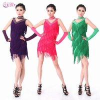 Wholesale 2016 Hot Factory Adult Fringed V neck Latin Costume Performances Latin Sexy Dancing Dress Leotard Show Skirts A0302