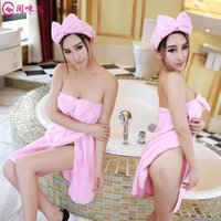 amazing towel - Manufacturers selling pink bow wear towel wrapped chest sexy lingerie amazing split Nightgown