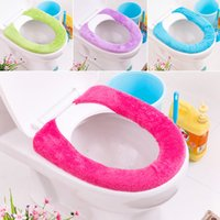 Wholesale 4 Pieces Candy Color Button Closed Toilet Seat Cover Fabric Toilet Seat Covers Closestool Bathroom Accessories Travel Set