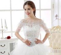 Wholesale Elegant sweet Ivory Free size Sleeveless Lace Flower Organza Wrap bridal jackets wedding wrap bride wrap