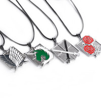 american titans - Attack on Titan Metal Pendant Necklaces Wings of Liberty Stationary Guard scouting legion military police LOGO Anime Leather Chain necklace