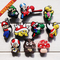band mario - Novelty Super Mario Bros PVC Shoe Charms Cartoon Shoe Decoration Shoe Buckles Accessories Fit Bands Bracelets Croc JIBZ Kids Party Gifts Toy