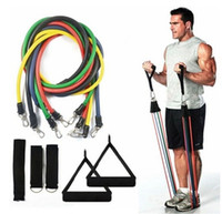 Wholesale 11 Set Latex Resistance Bands Workout Exercise Pilates Yoga Crossfit Fitness Tubes Pull Rope Fitness Equip
