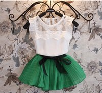 Cheap baby and kids sleeveless clothes set suit baby girl children clothing set shirt+skirt set for height 90cm-130cm