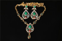 Wholesale fashion jewelry set fashion series two piece diamond earrings and necklace sets retro teardrop shaped Necklace