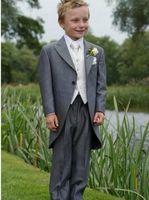 Wholesale 2015 New Design Kid s Tuxedos Peak Lapel Children Suit Grey Swallow Tailed Coat For All Boys Jacket Pants Tie Vest