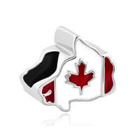 beads canada - Red white enameled maple Canada national map country flag European spacer bead metal charm bracelets Pandora Chamilia Compatible