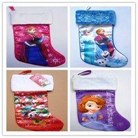 christmas trees wholesale - Fashion Christmas Tree party Decotation D Cartoon Frozen Princess Elsa Anna Family Xmas Socks Children s Kids Christmas Pockets Candy Bags
