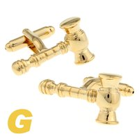 auction gold - High Quality New Classic Silver Copper Mens Wedding Cufflinks Novelty Rare Fancy Auction Hammer Clean Cloth