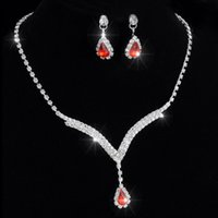 Wholesale Red Ruby Necklace Earrings Rhinestone Big Crystal Bridal Accessories Bridesmaid Lady Women s Prom Party Wedding Jewelry Sets