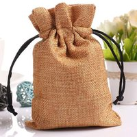 Wholesale Jute Gift Bag with cotton string x10cm x12cm x15cm x17cm Tea Coffee dried flower Jewelry Pouches Burlap Wedding Party Favor holders