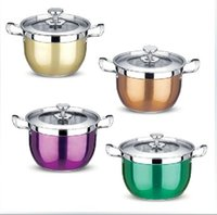 Wholesale Hight Quality Stainless Steel Colour Cooking Pots Cookware Kitchen Pots Set And