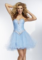 Cheap Beaded Corset Short Homecoming Dresses Sweetheart Strapless Light Sky Blue Cocktail Dresses Organza A-line Graduation Prom Gowns