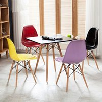 plastic stool chair - Economic Home Chairs Computer Chairs Living Room Chairs Garden Chairs Dining Chairs with PP Plastic Seat and Wooden Legs