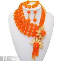 Wholesale New Arrival African Wedding Coral Beads Necklace Elegant Crystal Jewelry Set Color Orange South African Design