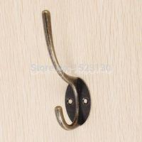 Wholesale 3pcs Zinc Alloy Antique Hat Coat Towel Robe Door Wall Bath Utility Closet Double Hook Hanger order lt no track