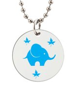 baby dog tags necklace - Light Blue Baby Elephant Customized Colorful Design round Dog Tag Necklace Aluminum Tag for Animal Pets Tag