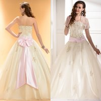 beautiful modest wedding dresses - Modest Beautiful Quinceanera Dresses with Custom Sheer Jacket Sexy Beaded Lace Applique Strapless Stunning Pink Bow Sash Wedding Gowns