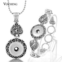alloy bracelet - VOCHENG NOOSA Silver Plated Interchangeable mm Ginger Snap Jewelry Set Button Pendants Necklace and Bracelet NN