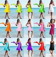 Wholesale 2016 Fashion Design Cover Ups Beach Dresses Swimwear For Women Colors Multi wear Bikini Wrap Dress Bathing Suit Sexy Womens Swimsuit