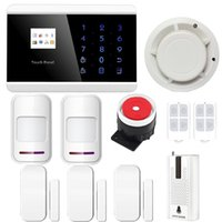 Wholesale IOS Android APP LCD Smart Touch Keypad Wireless wired GSM PSTN Quad4 Band SMS Home Security Voice Burglar Alarm System Auto Dial