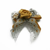 Wholesale 1000pcs Handmade mm Gold Yellow Satin Ribbon Lace Butterfly Children Garment Sewing Tie Bow Fabric Flower Kids Hair Gifts Accessories