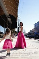 Fuchsia long Mother And Daughter Tutu Jupe 2016 Une ligne Summer Beach Photo Street Maxi Tulle Adulte Femmes Jupe Cheap Simple Party Jupe