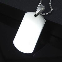 Wholesale Blank Engravable Stainless Steel Dog Tag Military Shape Men Fashion Pendants for boys without chain