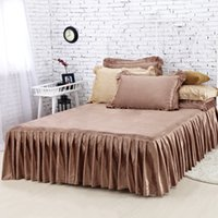 skirting direct - Factory Direct Sale Bedding New Shallow Brown Velvet Bed Skirt High Quality Winter Warm Bedspreads Twin Full Queen Size Fitted Sheet