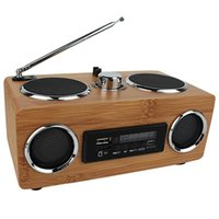 bamboo stereos - Super Bass Stereo Bamboo Multimedia Speaker TF Card USB FM Radio MP3 Player Remote Control Y4113O