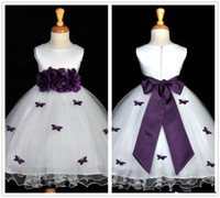Wholesale Hot Sale White and Purple Flower Girl Dresses Jewel Neck Flowers Sash Ruffles Tulle A Line Girls Pageant Dresses Custom Made G23
