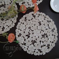 Wholesale Rustic fashion fabric embroidery table cloth disc pads placemat cutout cover towel self shade rose