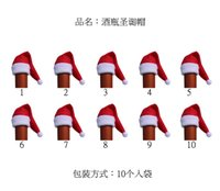Wholesale 100pcs Set Santa Claus Hat Red Wine Soft Christmas Bottle Cover For Christmas Home Decoration Wine Bottle Sets party decoration