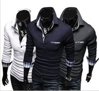 Wholesale Classic Mens Colors Matching Polos Long sleeve Cotton Plaid Cuff Fashion T shirts Piece