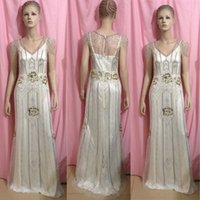 Reference Images art chapel - 2014 Vintage Gatsby Wedding Gowns Sheath Open Back with Beaded Ovelay Art Deco Wedding Dresses Elegant Sneath Sweep Train Tea Party Dresses