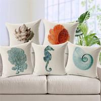 animal furniture covers - Marine Animal Cushion Cover Mediterranean Sea Print Linen Cojines Hot Sale For Sofa Furniture Home Decorative