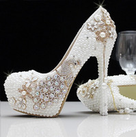 Wholesale 2016 New Spring Shoes Women High Heels Sexy Cusp crystal Ladies Shoes Golden Bride Wedding Shoes Waterproof fringed Phoenix High Heel White
