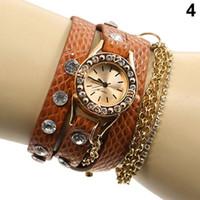 alloy chain slings - Hot Sale Candy Women s Hawaiian Sparkling Rhinestone Long Leather Sling Chain Quartz Wrist Watch for cristmas dress Gift FV